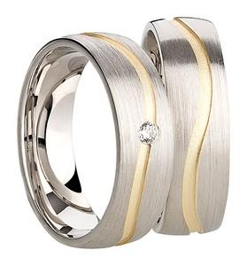 Bild von 925/- Ring rhodiniert matt goldplattiert 10 Mill. / Herrenring Gr.54-70