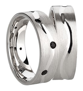 Bild von 925/- Ring rhodiniert matt 8 Zirkonia schwarz / Damenring Gr.50-62