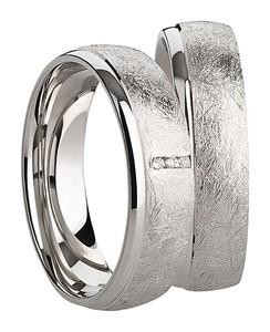 Bild von 925/- Ring rhodiniert geeist 3 Zirkonia / Damenring Gr.50-62